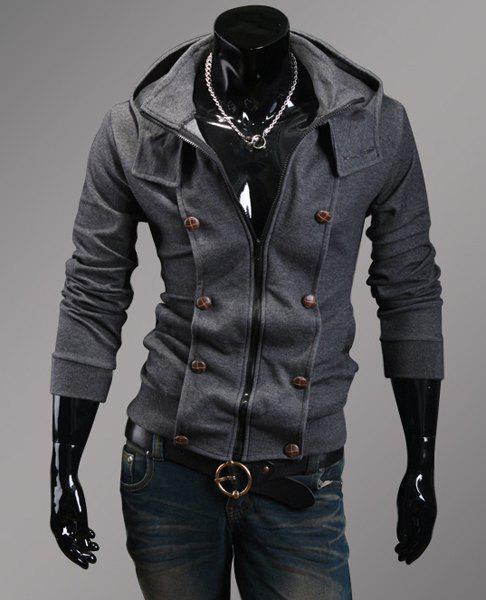 Casual Hooded Button Personality Embellished Slimming Solid Color Long Sleeves Men's Hoodie - DEEP GRAY XL