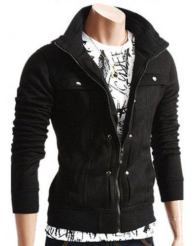 Fashion Pocket and Button Design Turndown Collar Long Sleeve Slimming Men's Polyester Sweatshirt