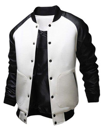 Fashion Large Pocket Color Splicing Stand Collar Long Sleeve Slimming Men's Polyester Jacket - WHITE M