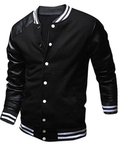 Fashion Color Block PU Leather Splicing Stand Collar Long Sleeve Slimming Men's Polyester Jacket - BLACK M