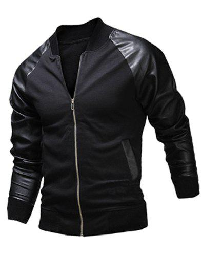 Fashion Pocket Design Fabric Splicing Stand Collar Long Sleeve Slimming Men's Polyester Jacket - BLACK M