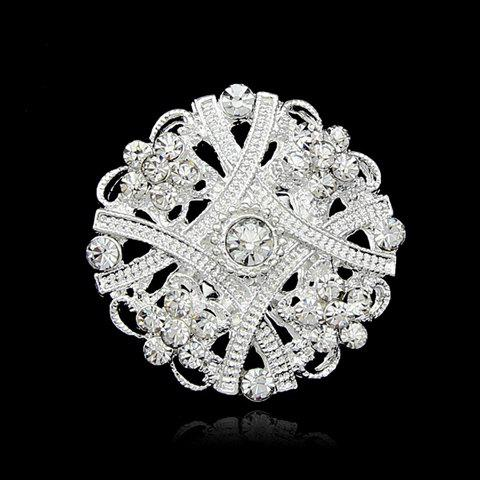 Charming Rhinestone Embellished Openwork Geometric Brooch - RANDOM COLOR PATTERN