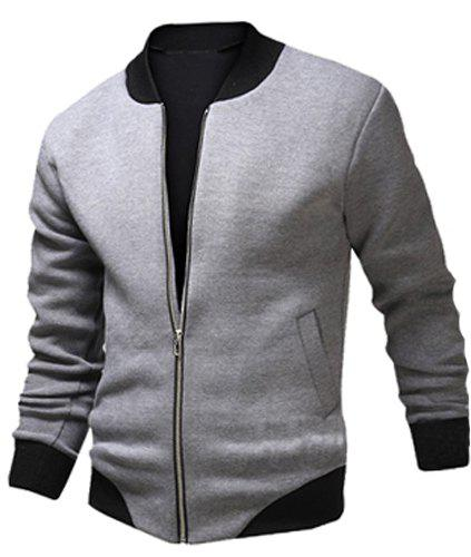 Fashion Color Block Rib Splicing Stand Collar Long Sleeve Slimming Men's Polyester Jacket - LIGHT GRAY M