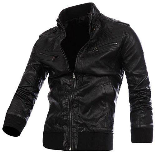 Fashion Epaulet Zipper Design Rib Splicing Stand Collar Long Sleeve Slimming Men's PU Leather Jacket
