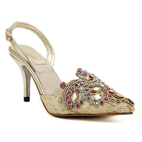 Gorgeous Rhinestones and Lace Design Pumps For Women - GOLDEN 40