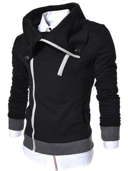 Slimming Cowl Collar Inclined Zipper Fly Rib Splicing Long Sleeves Men's Thicken Sweatshirt - BLACK M