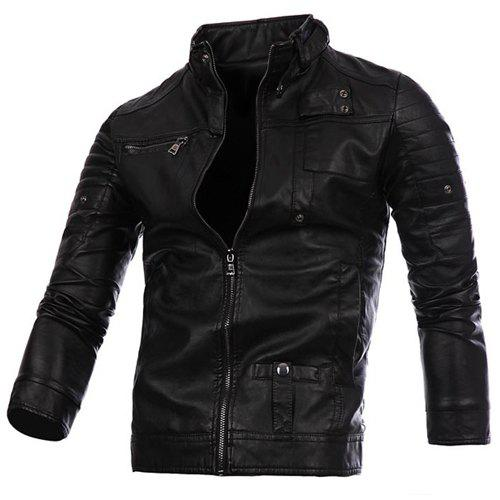 Stylish Stand Collar Slimming Button and Zipper Design Long Sleeve PU Leather Jacket For Men