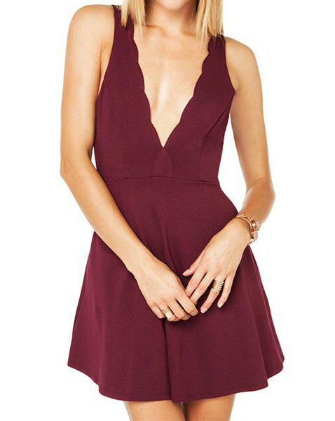 Alluring Plunging Neck Sleeveless Solid Color Backless Women's Dress - WINE RED XL