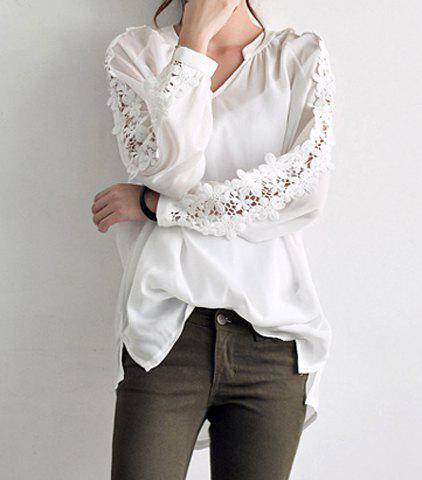 Stylish V-Neck Long Sleeve Solid Color Spliced Women's Blouse - WHITE ONE SIZE(FIT SIZE XS TO M)