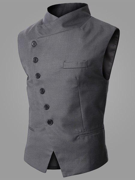 Trendy Stand Collar Personality Inclined Button Fly Slimming Sleeveless Men's Waistcoat - GRAY M