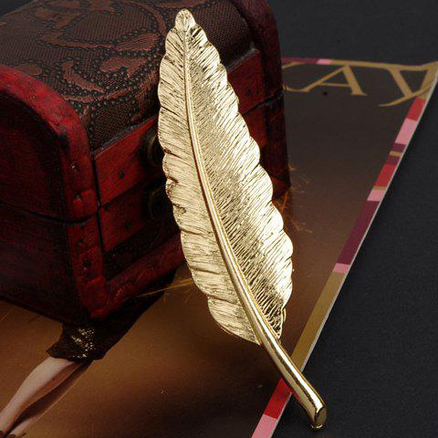Shinning Style Metal Feather Brooch For Women - GOLDEN