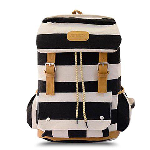 Casual Buckle and Striped Design Satchel For Women - BLACK