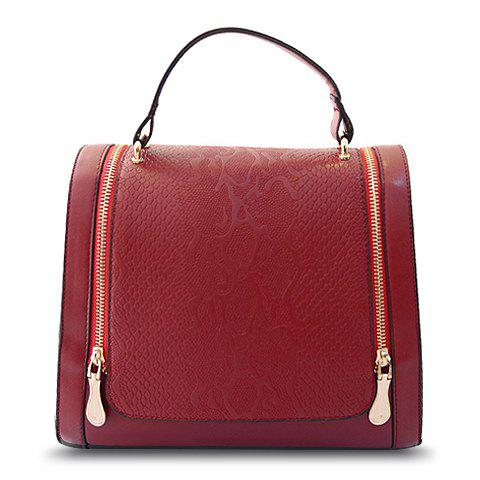 Gorgeous Zipper and Embossing Design Tote Bag For Women - WINE RED