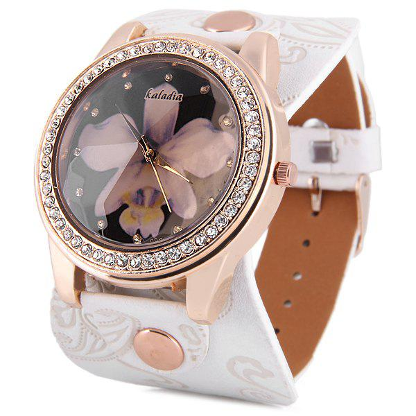 Kaladia 8925 Diamond Quartz Watch Flower Pattern Round Dial Leather Strap for Women - WHITE