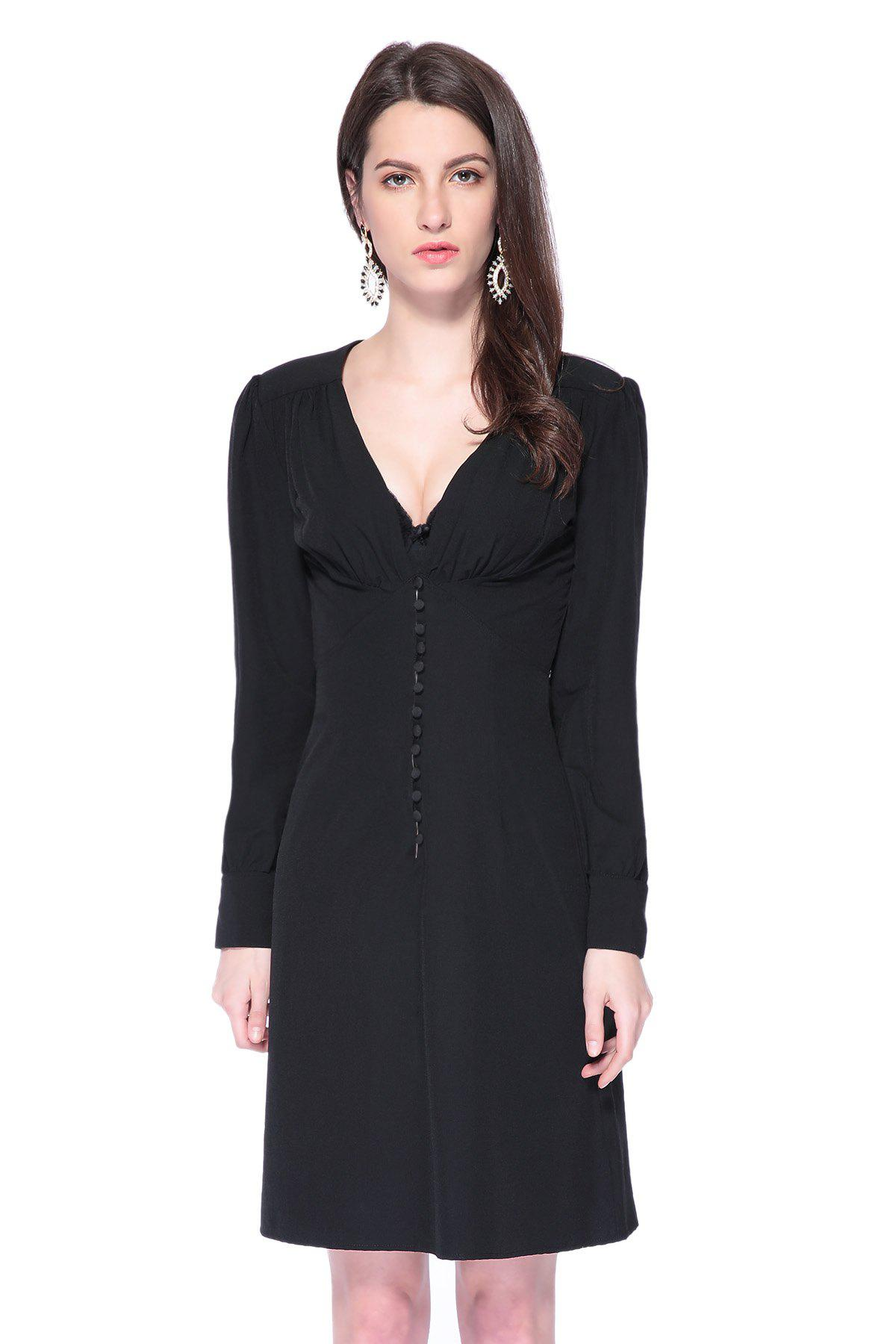 Fashionable Plunging Neck Long Sleeve Black Single-Breasted Women's Dress - BLACK M