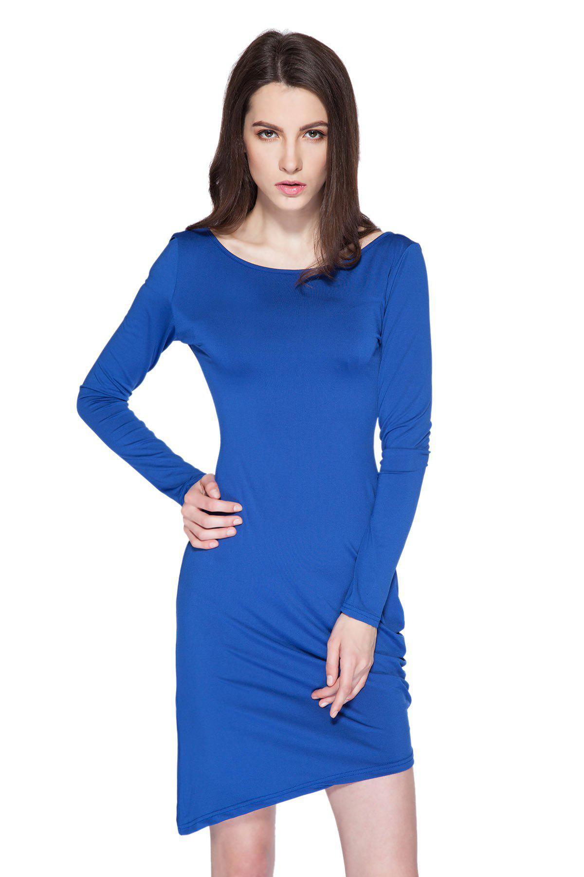 Simple Style Boat Neck Long Sleeve Solid Color Backless Women's Bodycon Dress - SAPPHIRE BLUE L