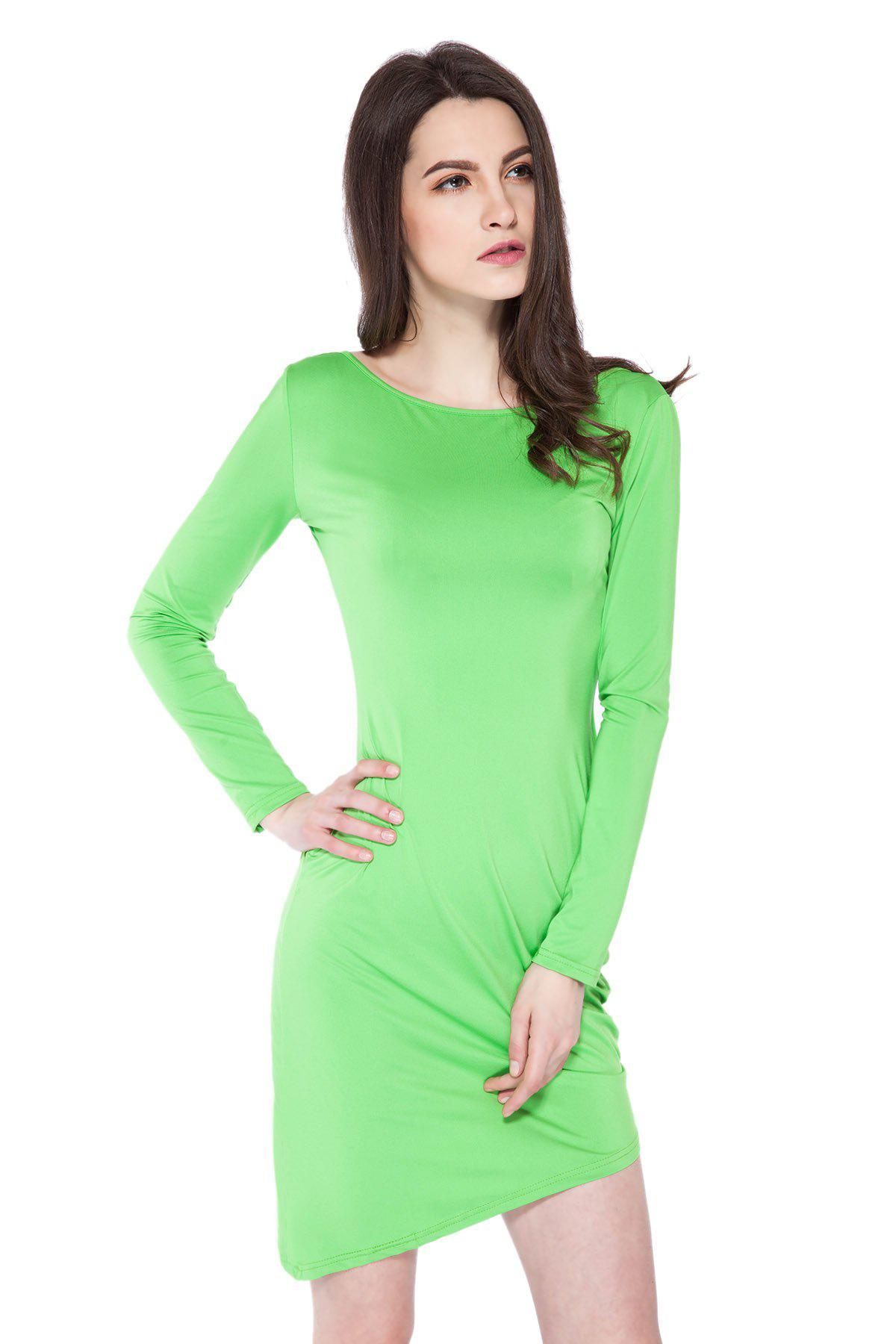 Simple Style Boat Neck Long Sleeve Solid Color Backless Women's Bodycon Dress - GREEN L