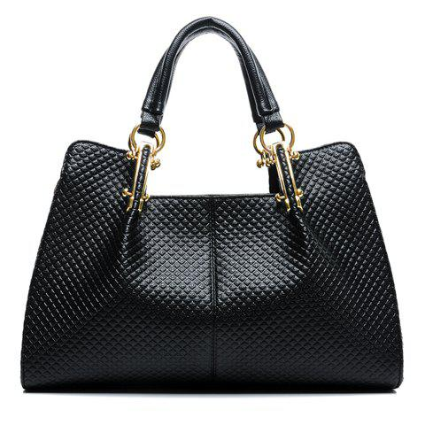 Elegant Checked and Metallic Design Tote Bag For Women - BLACK