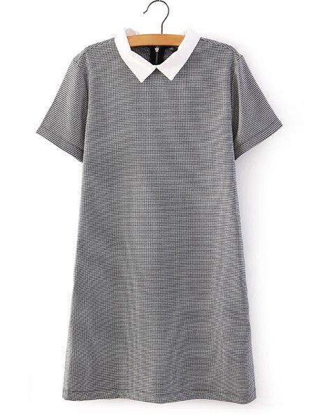 Polo Collar Houndstooth Fashionable Short Sleeve Dress For Women - WHITE/BLACK S