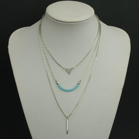 Chic Faux Crystal Beads Decorated Multi-Layer Necklace For Women - SILVER