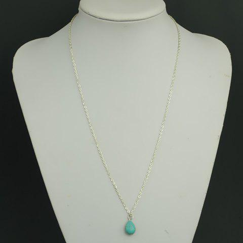 Stylish Waterdrop-Shaped Turquoise Pendant Sweater Chain For Women - SILVER