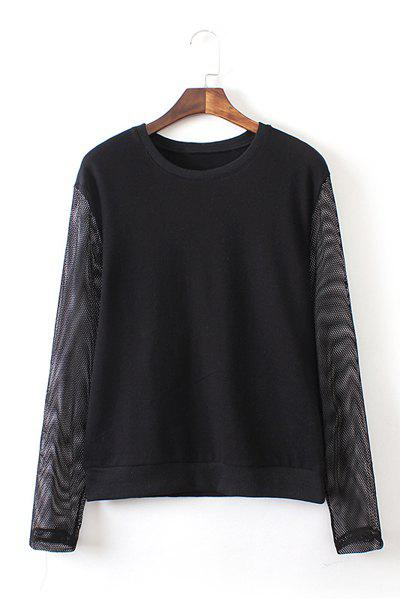 Jewel Neck Solid Color Mesh Splicing Casual Style Long Sleeve Sweatshirt For Women - BLACK M