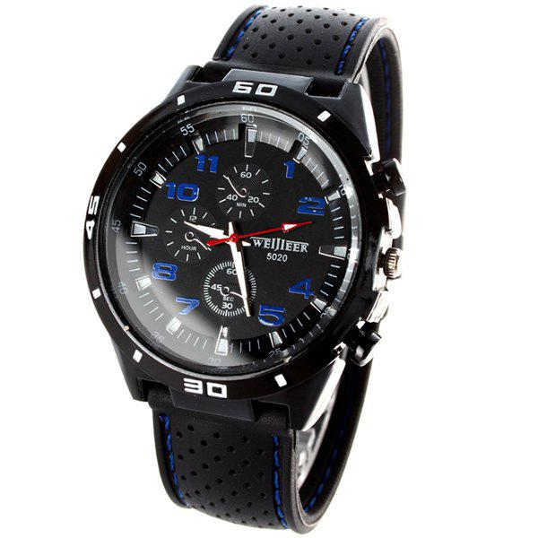 Weijieer 5020 Male Quartz Watch Round Dial Rubber Strap Non-functioning Sub-dials - WHITE