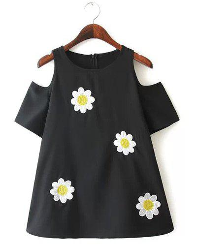 Jewel Neck Floral Embroidery Off-The-Shoulder Sweet Style Short Sleeve T-Shirt For Women - BLACK L