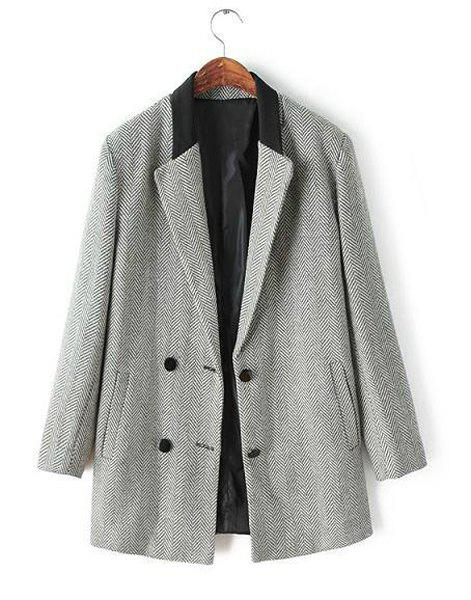 Style Lapel Ripple Buttons Sophisticated Long Sleeve Coat For Women - LIGHT GRAY S