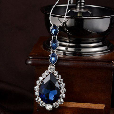 Trendy Waterdrop-Shaped Faux Gem Embellished Pendant Sweater Chain For Women - BLUE