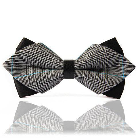 Chic Stripe Splice Design Double-Deck Men's Bow Tie - BLACK/GREY