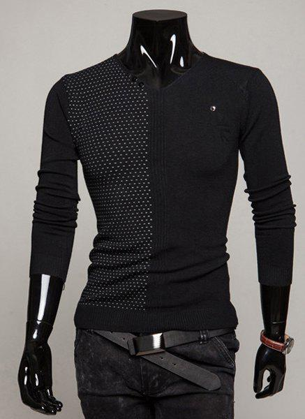 Fashion Dots Print Buttons Embellished V-Neck Long Sleeve Slimming Men's Polyester Sweater - BLACK 2XL