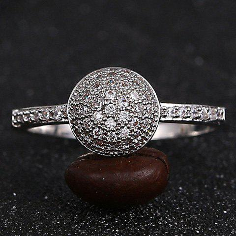 Retro Style Rhinestone Decorated Solid Color Ring For Women - SILVER ONE-SIZE