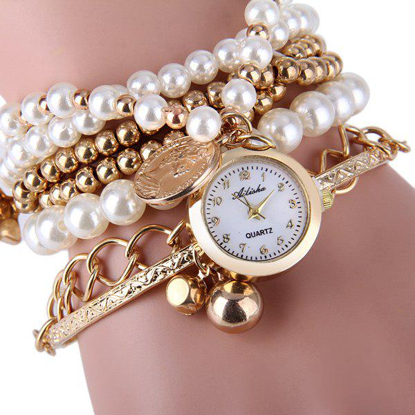 Ailisha Multilayer Quartz Chain Watch Beads Pendant Round Dial for Women - GOLD