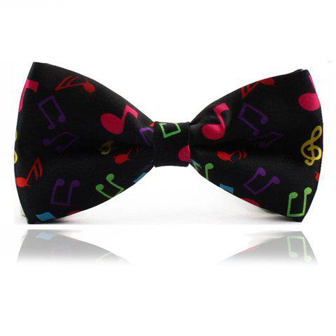 Chic Colorful Musical Note Design Men's Bow Tie - BLACK