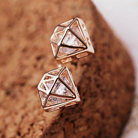 Pair of Rhinestone Openwork Crown Shape Earrings - ROSE GOLD
