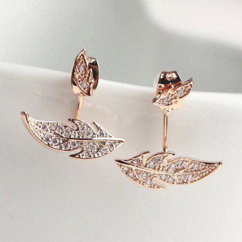 Pair of Chic Women's Rhinestone Wings Earrings - ROSE GOLD