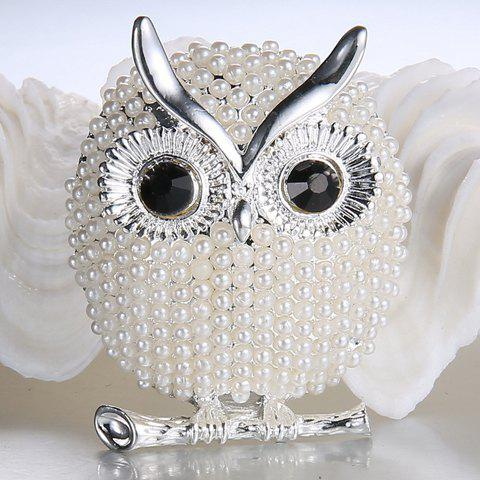 Alloy Faux Pearl Owl Brooch - WHITE GOLDEN