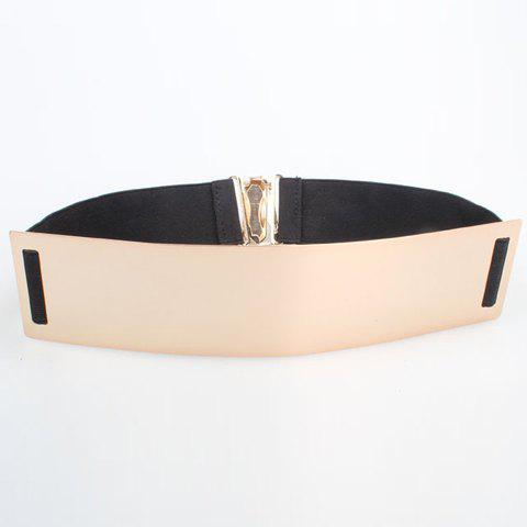 Chic Sheeny Metal Embellished Elastic Waistband For Women