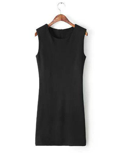 Jewel Neck Solid Color Zipper Sweet Style Sleeveless Dress For Women - BLACK M