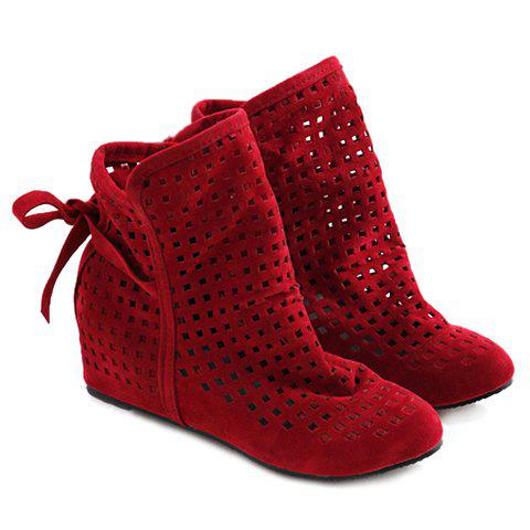 Trendy Hollow Out and Increased Internal Design Boots For Women - RED 40