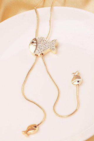 Sweet Diamante Fish Pendant Sweater Chain For Women - GOLDEN