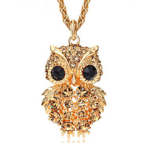 Charming Diamante Owl Pendant Sweater Chain For Women - COLORMIX