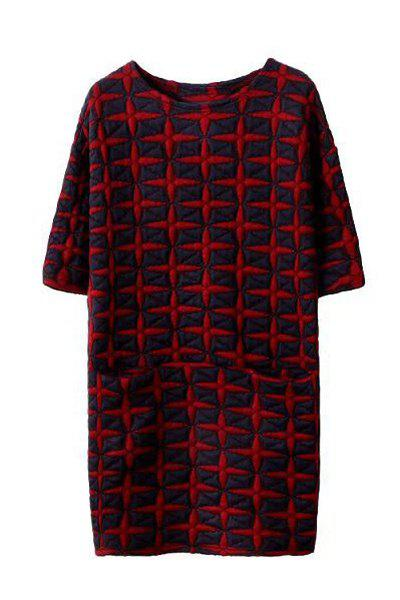 Elegant Geometrical Pattern Round Collar Half Sleeve Dress For Women - BLACK L