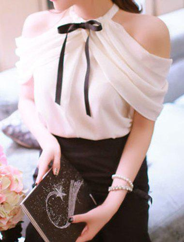 Sweet Bow Tie Collar Short Sleeve Solid Color Off-The-Shoulder Women's Blouse - WHITE ONE SIZE(FIT SIZE XS TO M)