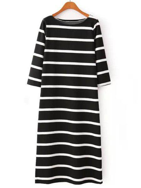 Jewel Neck Color Block Stripe Casual Style 3/4 Sleeve Dress For Women - WHITE/BLACK M