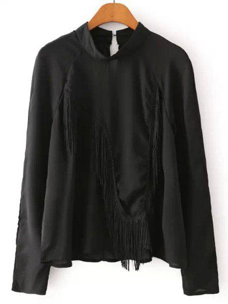 Round Neck Fringe Splicing Solid Color Casual Style Long Sleeve Shirt For Women - BLACK M
