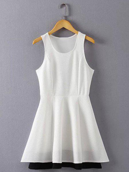 Sweet Scoop Neck Solid Color Sleeveless Dress For Women - WHITE S