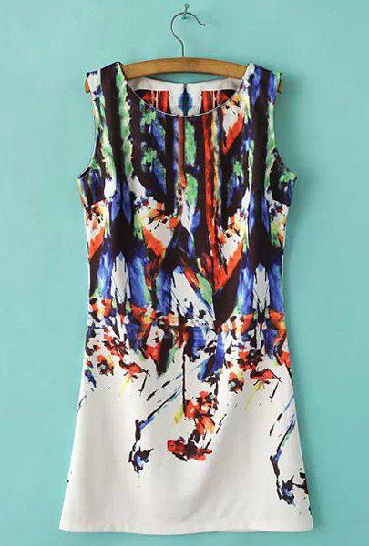 Refreshing Bamboo Print Round Collar Sleeveless Dress For Women - COLORMIX M