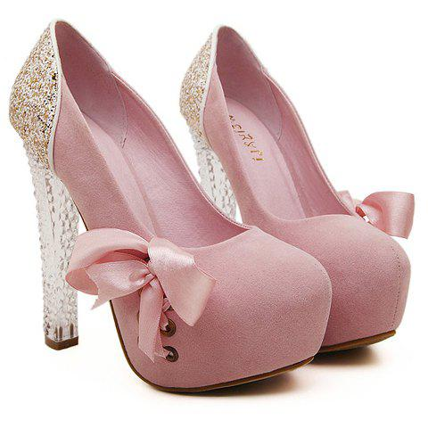 Stunning Crystal Heel and Sequined Design Pumps For Women - LIGHT PINK 39